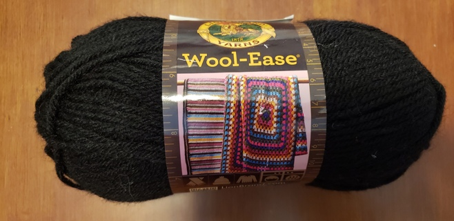 "NEW - Lion Brand Wool-Ease Yarn - ""Black"""