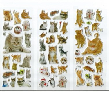 CATS Feline Kitties Puffy Stickers Super Cute FREE SHIPPING