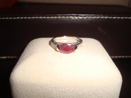 Sterling Silver Marked 925 Real Rough Cut RUBY