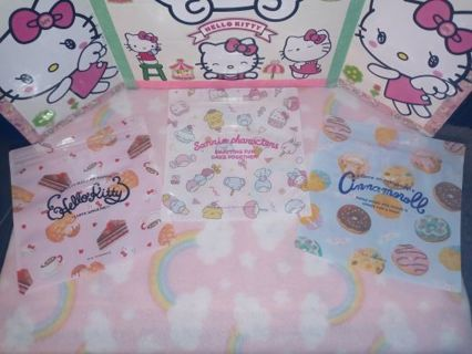 ❤❇️❤❇️❤️6 BRAND NEW LARGE KAWAII SANRIO ZIPLOCK BAGS❤❇️❤❇️❤3 DESIGNS/2 OF EACH! (GIN=DOUBLE)