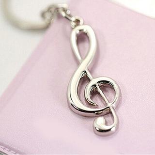 3D Silvery Music Notes Symbol Pendant Key Ring Keychain Keyfob Creative Keyring