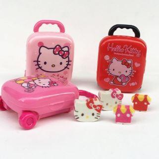 1 Box Lovely Mini Hello Kitty Shape Eraser Luggage Case Bag Box
