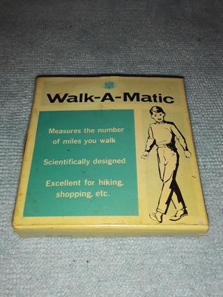 Vintage Walk A Matic pedometer / 1960s / NIB