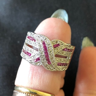 Pink Sapphire and White Topaz Ring