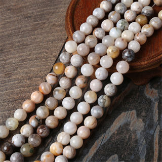[GIN FOR FREE SHIPPING] Natural Gemstone Bamboo Agate Beads Gray Round Loose Bead 15in