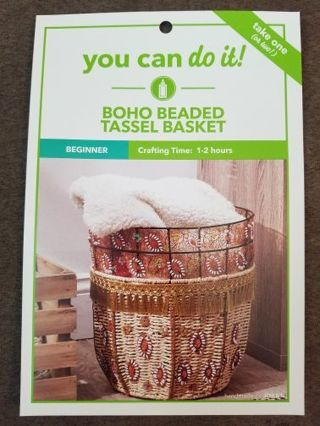 Boho Beaded Tassel Basket