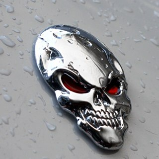 3D Skull Logo Emblem Badge Metal Car