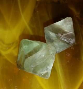 Aqua - Green FLOURITE OCTAHEDRONS (2 rough pieces)  1.5cm