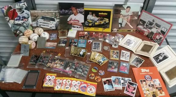 MASSIVE Sports Collectors Lot! Rares Coins Photos Signed Baseball Nascar Basketball Trading