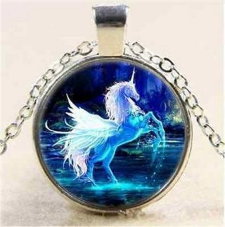 """New Unicorn Pegasus Glass Dome CAB Cabochon Pendant Necklace in Silver Tone with 20"""" Long Chain!"""