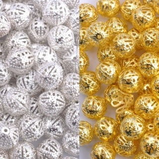 100Pcs GOLD/SILVER PLATED Metal FILIGREE Spacer BEADS