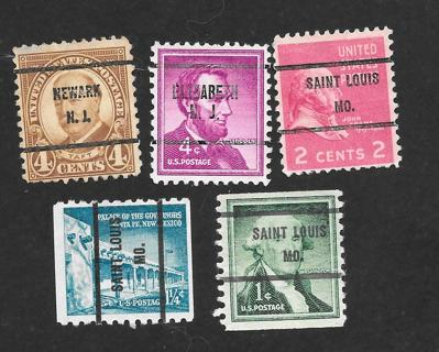 Used mix of Pre-Cancel Stamps # 5
