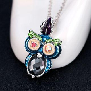 Women Fashion Retro Crystal Rhinestone Owl Pendant Necklace Funny Jewelry Gifts