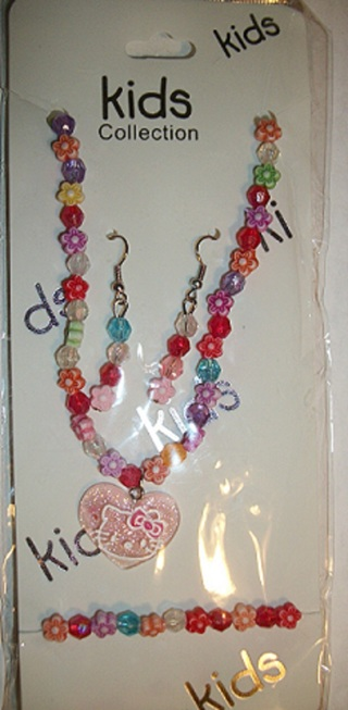 *NEW* Little Girls Pink Hello Kitty Necklace, Bracelet & Earring Set.