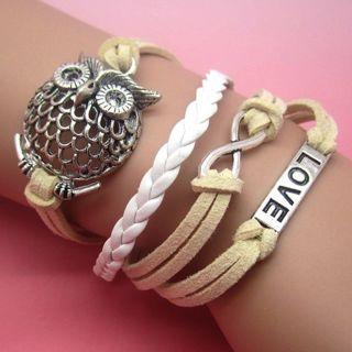 TAN WHITE INFINITY OWL LOVE Leather Charm Infinity Bracelet Alloy Silver NEW