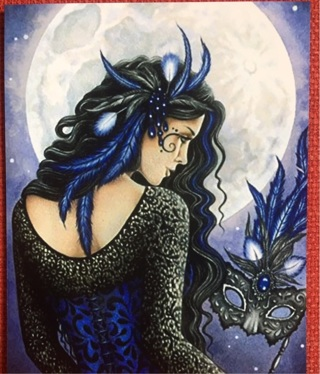 """MOON MAIDEN WITH MASK!! - 5 x 4"""" MAGNET"""