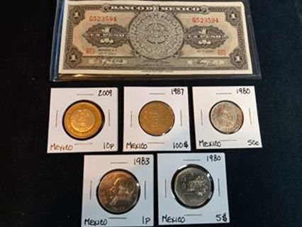 5 nice coins from Mexico...Unc Un Peso Bill