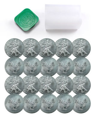 FULL TUBE of 20, fresh from the U.S. Mint! 2016 1 TROY oz .999 Silver Eagle GEM BU $1 Coins!