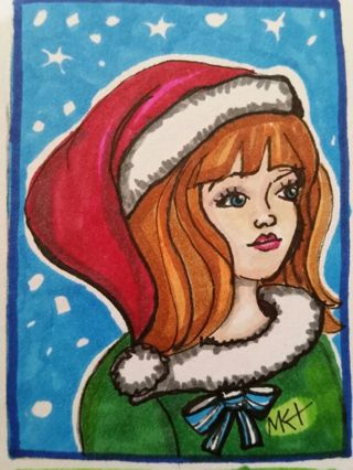 Santa's helper - #149♡ Original Drawing by MK ATC / ACEO ☆print enhanced with gel pens