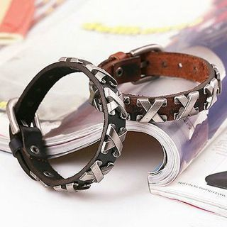 [GIN FOR FREE SHIPPING] Punk Leather Bangle Alloy Wristband Cuff Bracelet