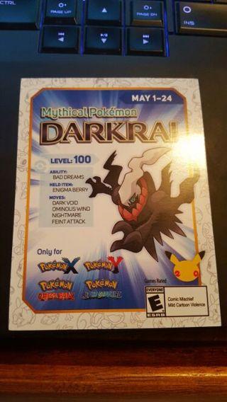 free mythical pokemon darkrai level 100 mystery gift code only