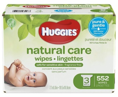 Huggies Natural Care Unscented Baby Wipes, 3 Refills 552 count