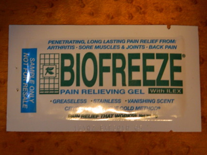 BIOFREEZE Pain Relieving Gel - Sample Size, FREE Shipping!