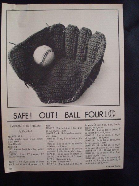 Free Crochet Pattern For Baseball Glove Pillow Crochet Listia