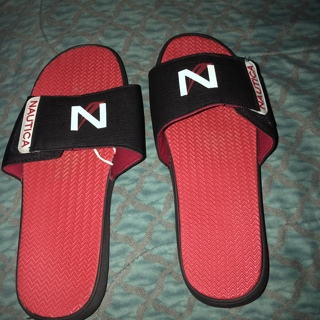 Gently Used, Pair of Red and Black Nautica Flip Flops. Size Lrg. Beach or Everyday Wear