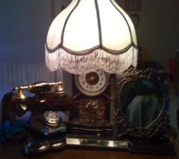 antique phone/lamp/waterfall