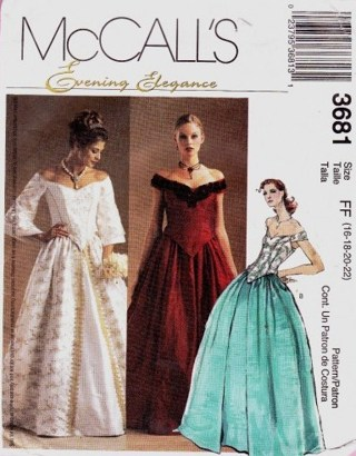 Free Mccalls Pattern 3681 Formal Victorian Gown Sewing Pattern Plus