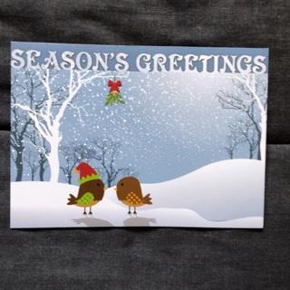 Mistletoe Birds Christmas Card