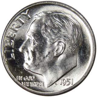 1951 Roosevelt Dime BU Uncirculated Mint State 90% Silver 10c US Coin