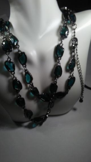 "Chicos Crystal Aqua Necklace gunmetal 36"" NWT"
