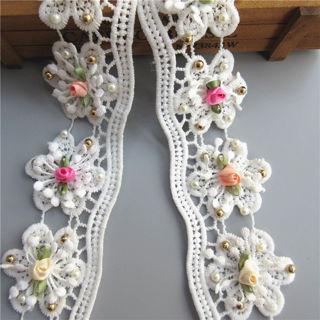 1Y Flower Embroidered Lace Edge Trim Ribbon Wedding Applique DIY Sewing Craft