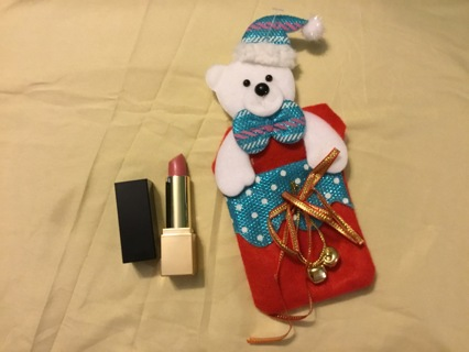 Full Size Estée Lauder lipstick in Bear Christmas ornament