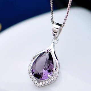 Water Drop Shaped Pendant Amethyst Necklace