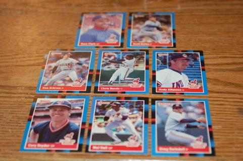 Set of 8 Cleveland Indians Baseball Cards, 1988 Donruss