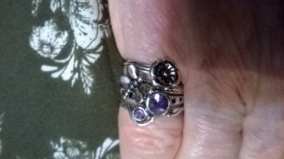 4 Amethyst 925 Sterling Dragonfly & Flower Stackable Rings Size 7
