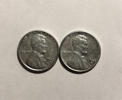 1943 S and 1943 D Steel cents