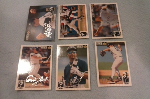 6 card new york yankees silver signatures lot
