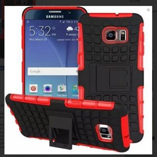 1 NEW SAMSUNG GALAXY s6 RED HYBRID◎ CASE HOUSING Scratch-Resistant Shock Absorbent NonSlip KickStand