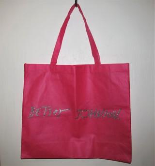 Betsey Johnson Tote Bag Bright Pink & Silver Glitter Shopping Bag