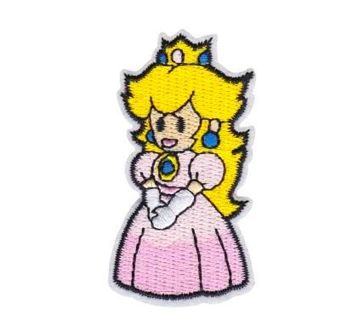 MARIO BROS PATCH PRINCESS PEACH IRON ON APPLIQUE PARCHE EMBROIDERED