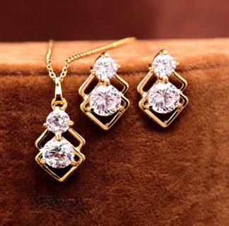 Crystal African Jewelry Sets for Women Gold Color Double Layer Square Pendant Necklace Earrings
