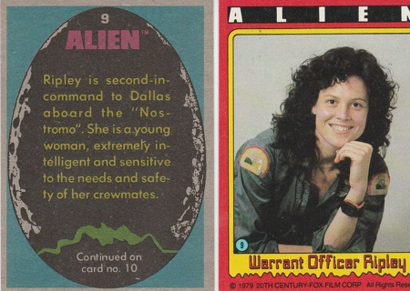 1979 Topps ALIEN #9 Trading Card Warrant Officer Ripley NM/Mint Condition