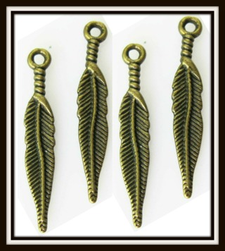 4 (FOUR!) Pieces LOVELY FEATHERS Bronze Tone Charms, Pendants, 28mm x 6mm, Brand NEW!