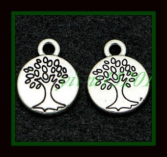 2 pc SET! Mini TREE of LIFE Round Discs Tibetan Silver Pendants Charms, 15mm x 12mm, Brand NEW!