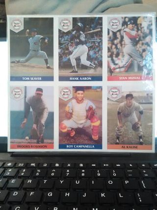 WOW !!!!! Uncut sheet of six hall of famers baseball cards over 20 year old