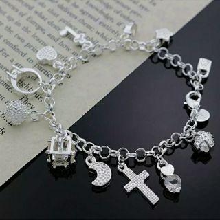 beautiful Fashion Cute wedding silver Plated 13charms Lady crystal bracelet 925